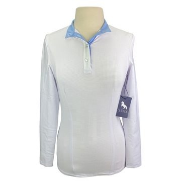 Levade Clothier 'Annabelle' Shirt in White/Blue - Women's Small