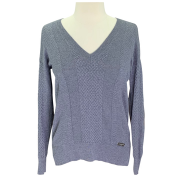 Asmar Equestrian Cashmere/Merino Blend V-Neck Sweater in Grey