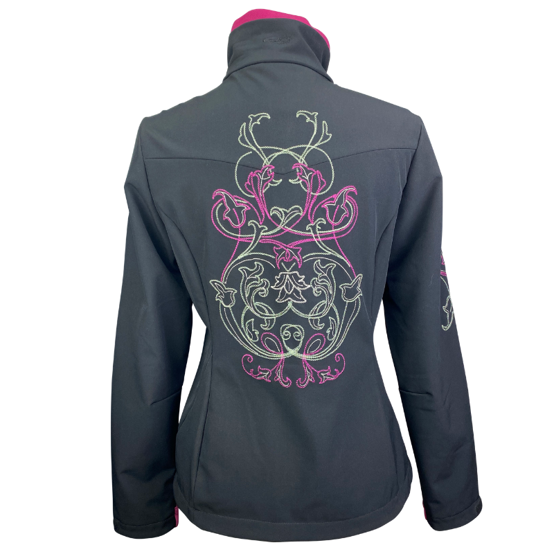 Back of Roper Embroidered Jacket in Black/Pink - Women's Medium