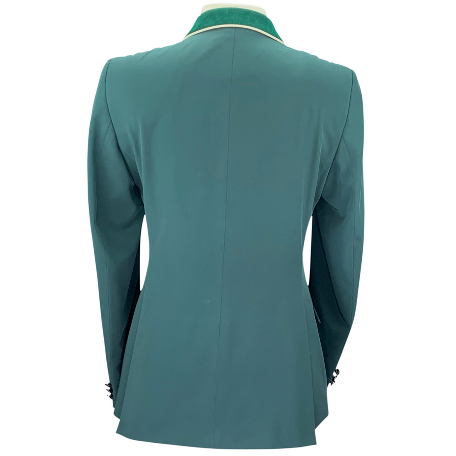 Back of Grand Prix Show Coat in Green/Suede Collar with White Piping
