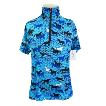 Kerrits Ice Fil Short Sleeve in Blue/Horseplay  - Children's Large
