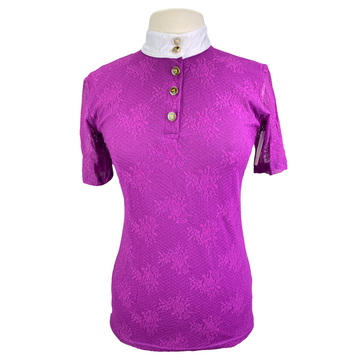 Valentine Equine Lace Competition Shirt in Purple - Women's Large