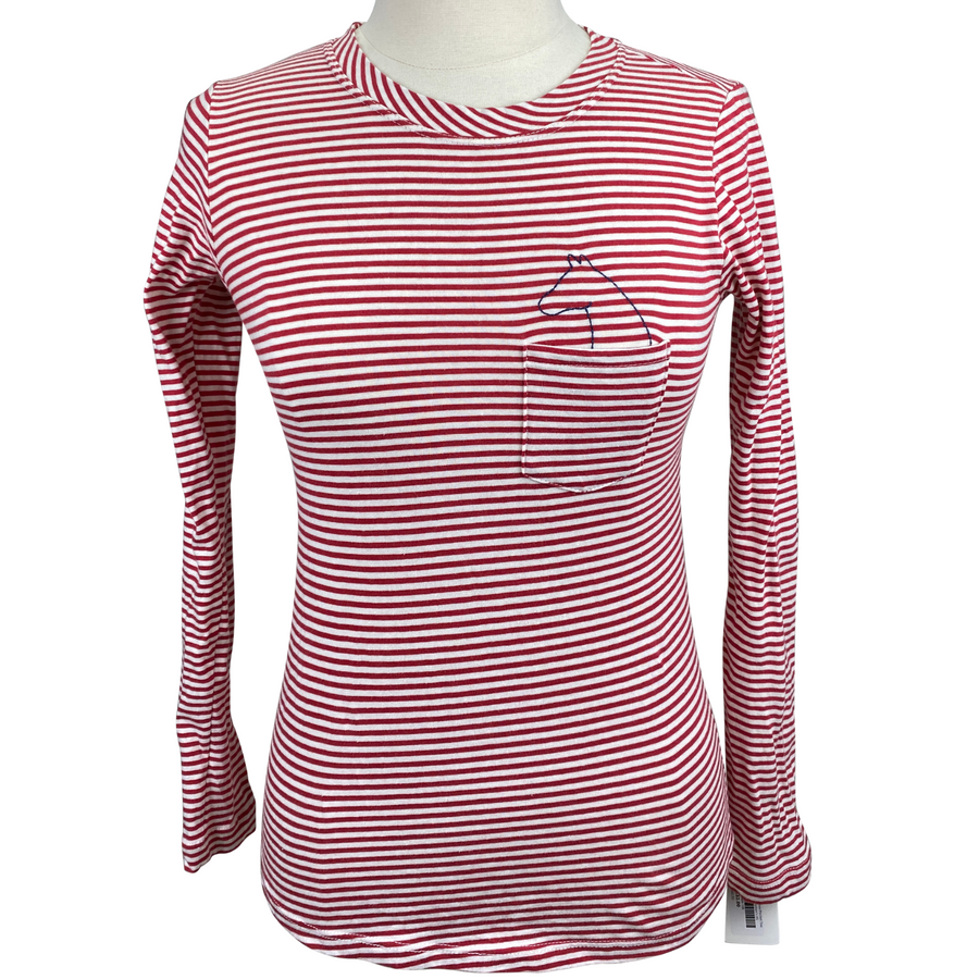 Horse-A-Porter Long Sleeve Pocket Tee in Red/White Stripes - Women's XS