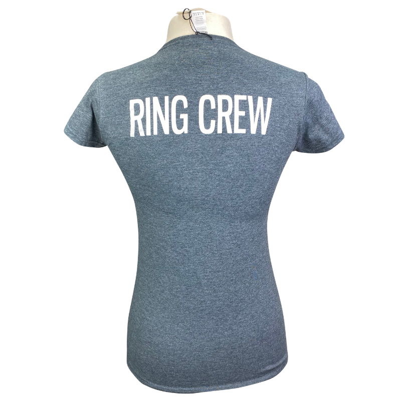 Back of TKEQ Ring Crew Tee in Heather Charcoal - Women's Large