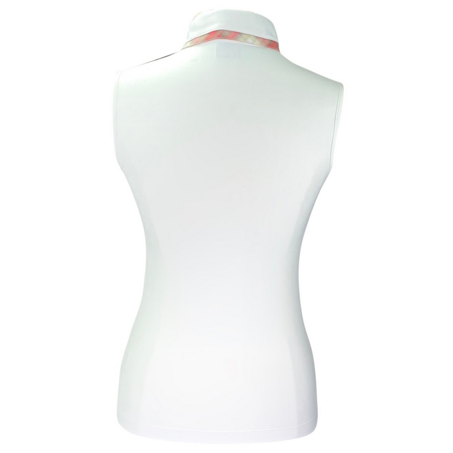 Back of Animo BVIP Sleeveless Polo in White