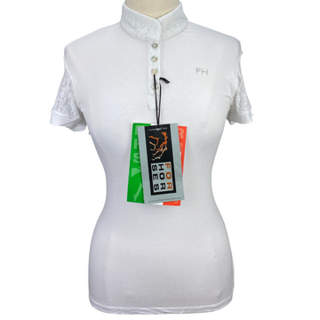 For Horses 'Stella' Show Shirt in White - Women's XL