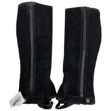 Perri's Suede Zipper Half Chaps in Black - XS/Tall