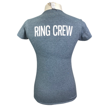 Back of TKEQ Ring Crew Tee in Heather Charcoal - Women's Medium