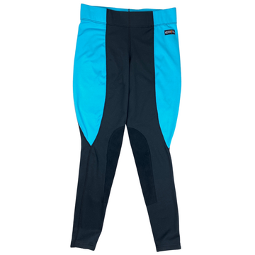 Kerrits Flow Rise Knee Patch Performance Tight in Sky Blue/Black - Women's Small