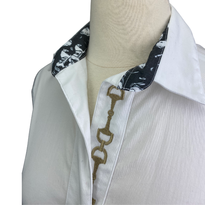 Close up of Ronner Button Up Shirt in White - Women's XS