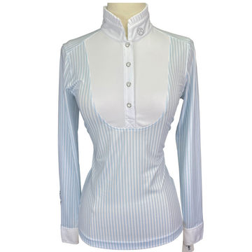 PS of Sweden Doris Show Shirt in White/Blue Stripes - Women's XS