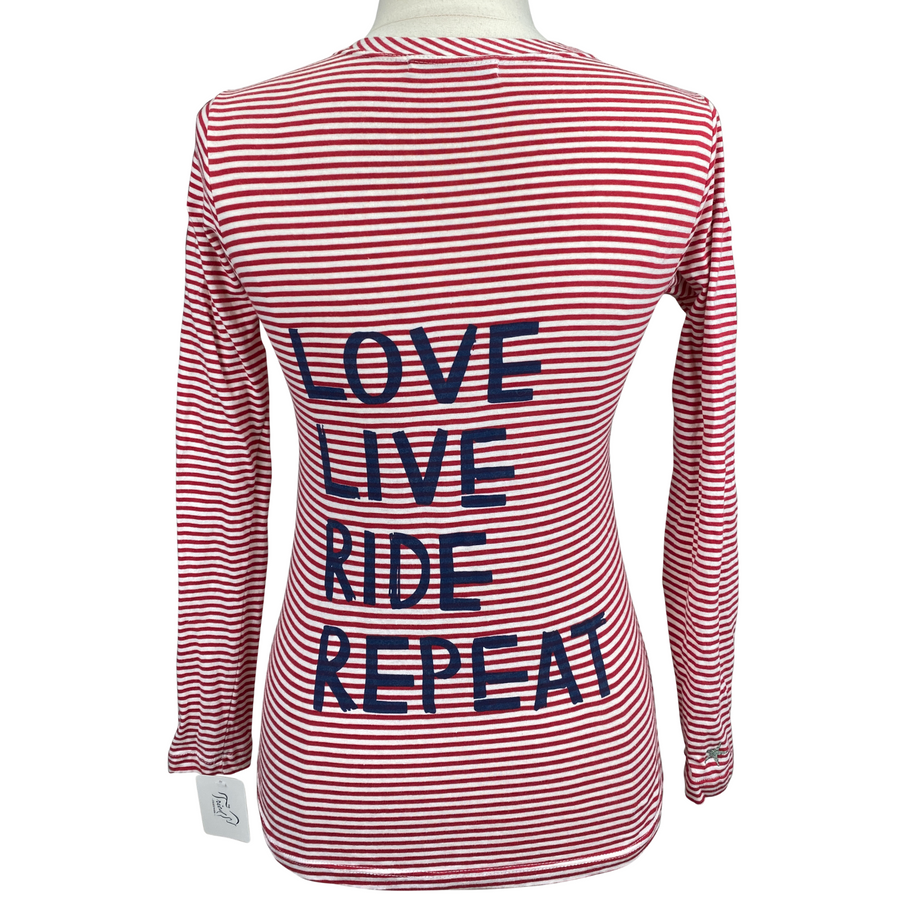 Back of Horse-A-Porter Long Sleeve Pocket Tee in Red/White Stripes - Women's XS
