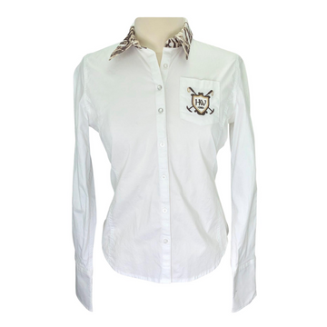 Horseware Button Down Blouse in White/Tiger Print
