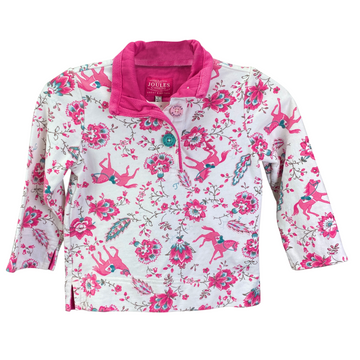Joules Long Sleeve Shirt in White/Pink Design - Children's 3 | XS