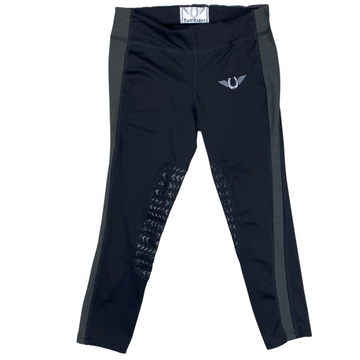 Front of TuffRider Ventilated Schooling Riding Tights in Black