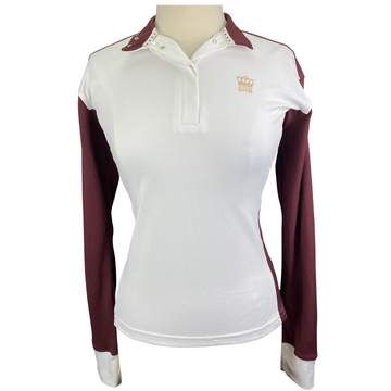 Equine Couture 'GHM' Champion Long Sleeve Show Shirt in White/Burgundy - Women's Medium