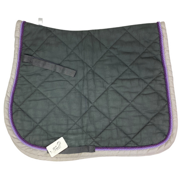 USG All Purpose Saddle Pads in Grey/White+Purple Trim