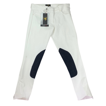 Le Fash City Breech in White/Navy Knee Patch
