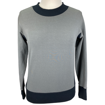 Two Bits Equestrian 'The Bamboo Crewneck' in Grey/Black - Size 0 | Women's XS/S