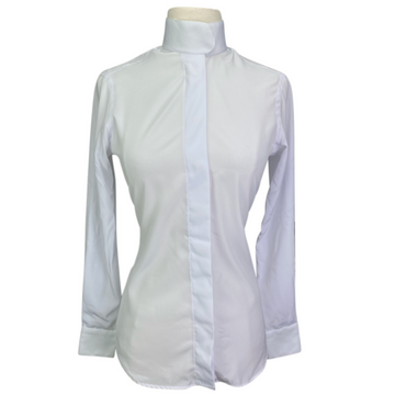 HABiT Notched Collar Show Shirt in White/Neon Green Checkered Collar - Women's 2 (XS)
