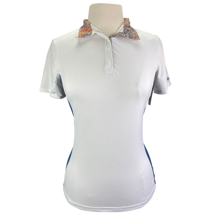 Dover Saddlery CoolBlast Show Shirt in White/Blue Accents