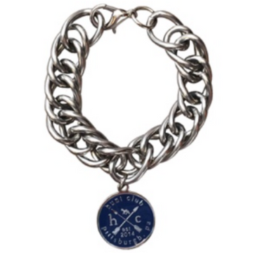 Hunt Club 'Curb Chain' Bracelet in Stainless Steel w/ Navy Emblem