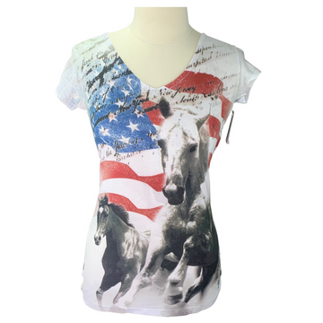 Cowgirl Attitude Tee in White/Red/Blue