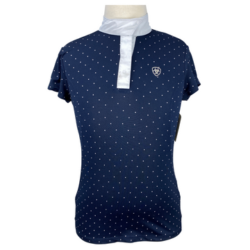 Front of Ariat Pro Series Competition Top in Navy Polka Dot/White