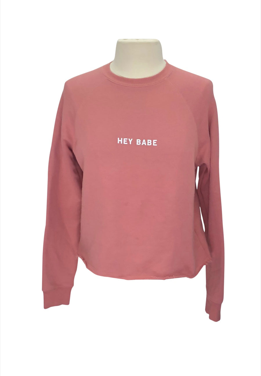 front view of Brunette The Label 'Hey Babe' Pullover in Dusty Rose