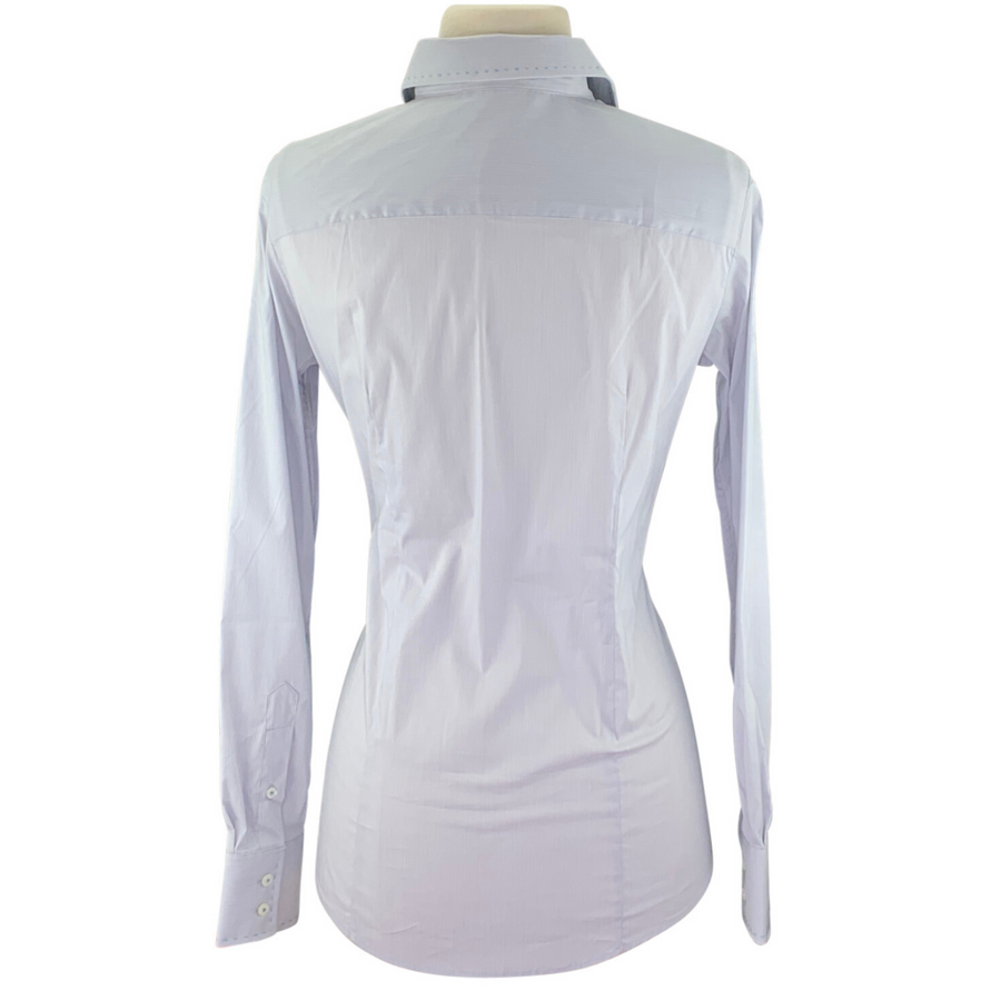 Back of Essex Classics Dora Long-Sleeve Shirt in Blue Grey