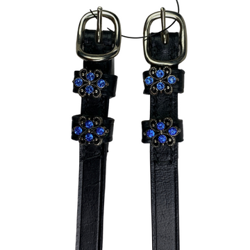 Close up of Spur Straps by Browbands with Bling in Black/Royal Blue Charm - 18