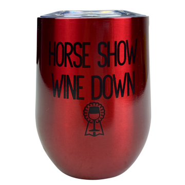 Spiced Equestrian Insulated Wine Mug in Red 'Wine Down' - One Size