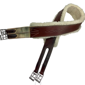 Removable Velcro Sheepskin Leather Girth in Brown