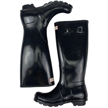 Hunter Original Tall Gloss Rain Boot  in Black - Women's 7