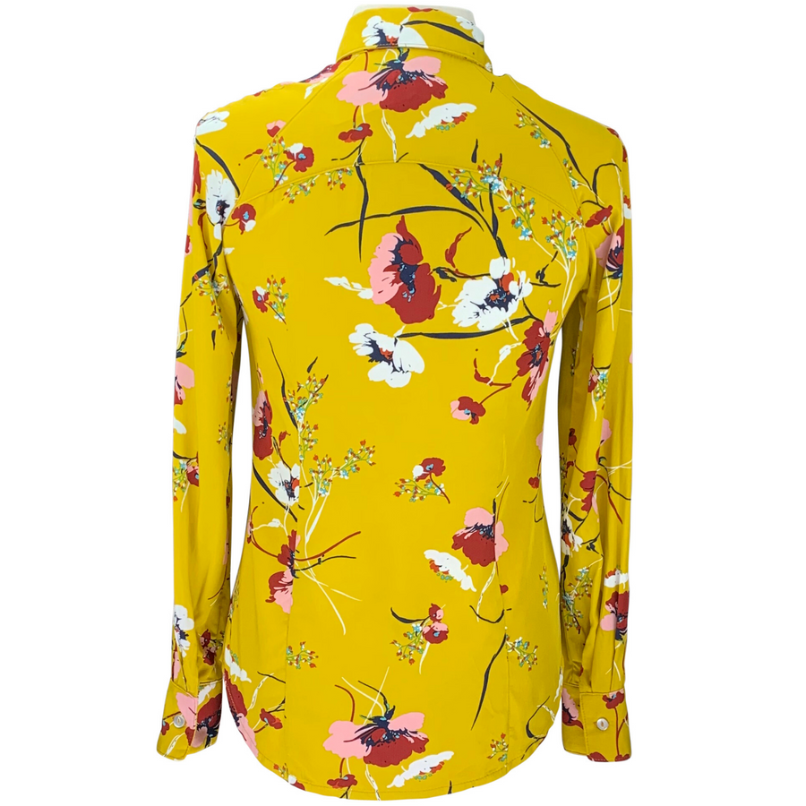 Back of Street & Saddle Floral Horse Camp Long Sleeve in Gold Floral