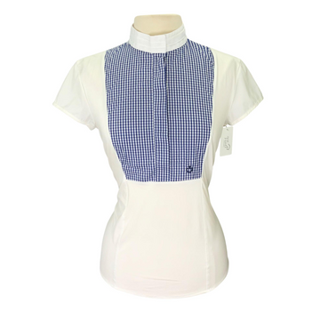 Cavalleria Toscana Competition Shirt in White/Blue Plaid Bib