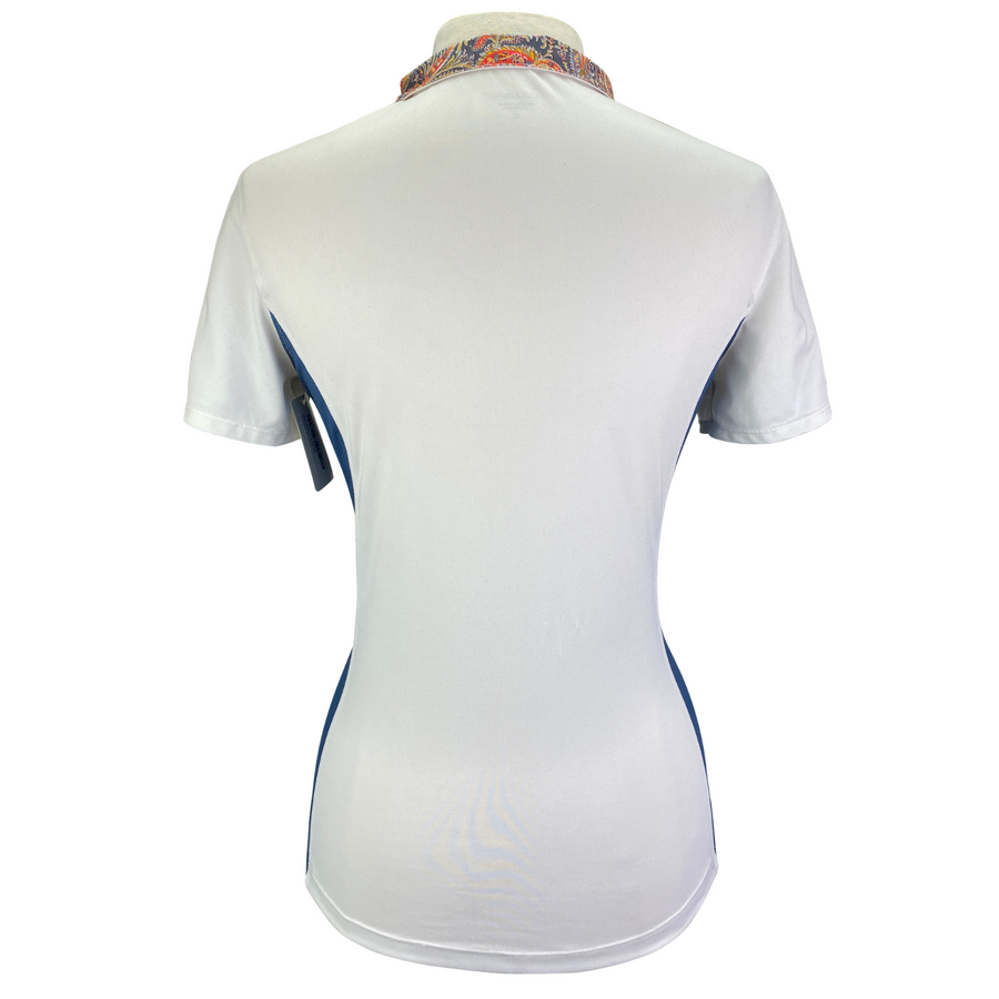 back of Dover Saddlery CoolBlast Show Shirt in White/Blue Accents