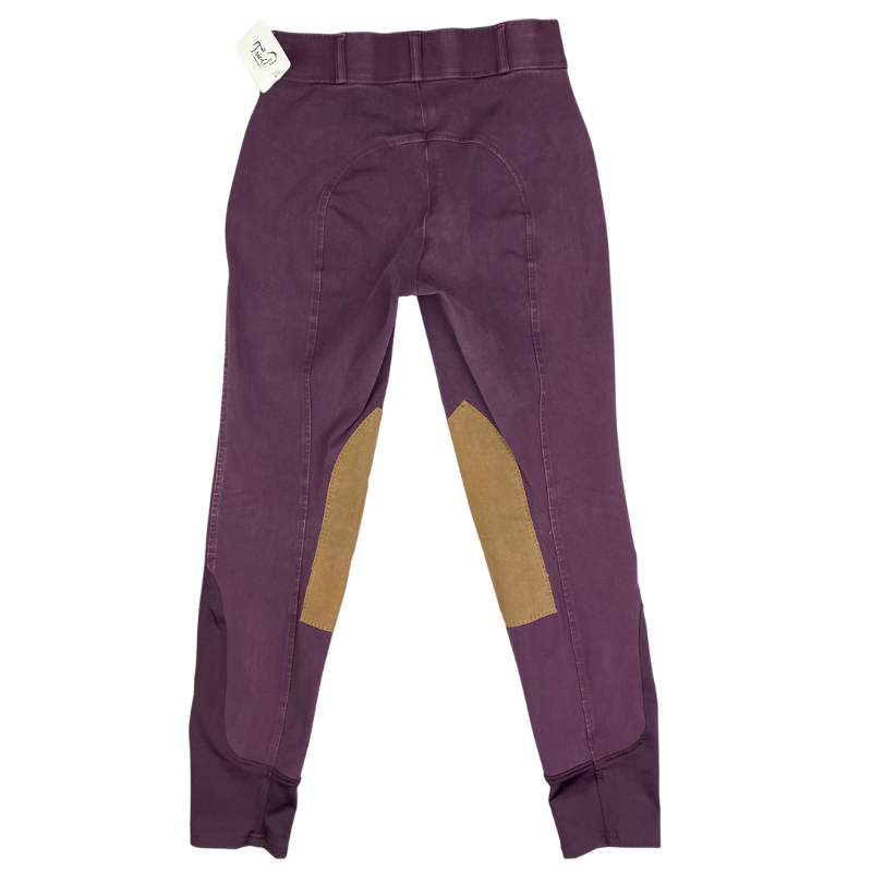 back ofDover Saddlery Knee Patch Breeches in Wine