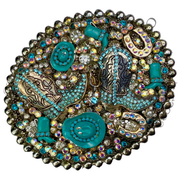 PARW Belt Buckle in Turquoise Sparkle - One Size