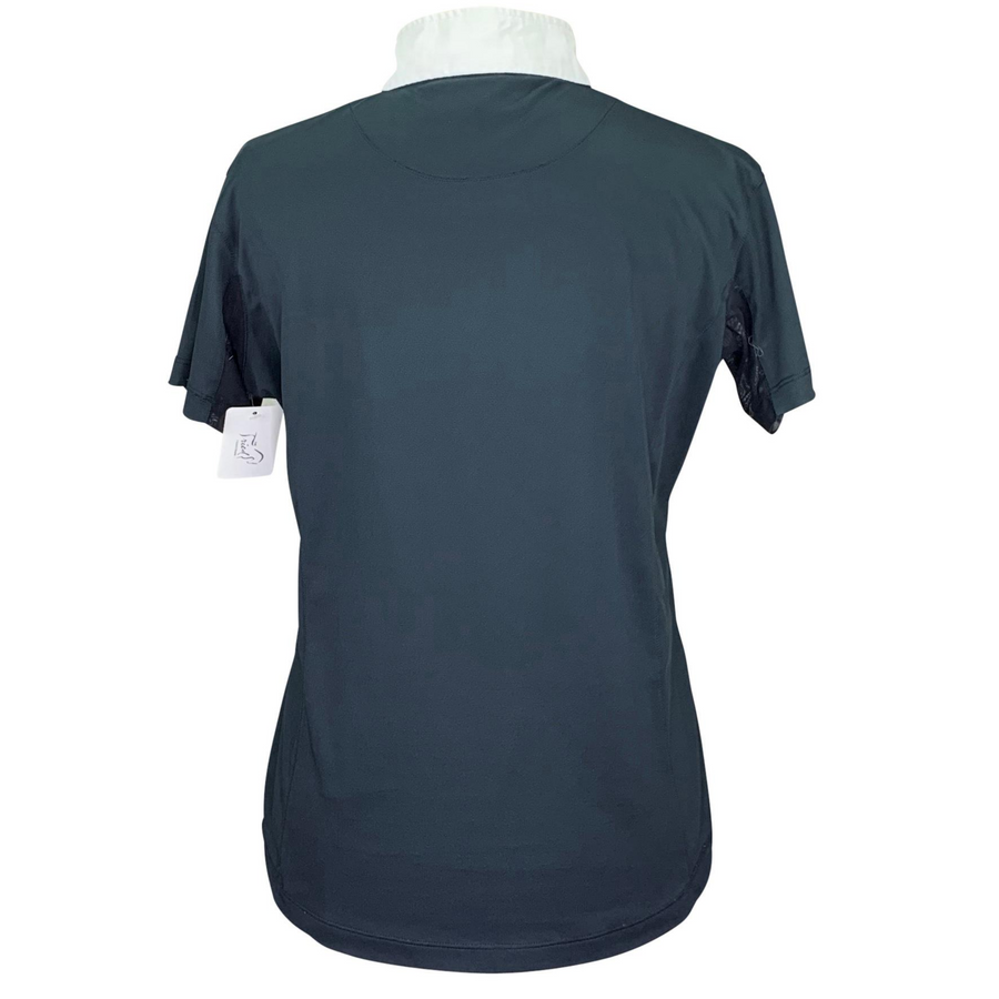 Back of Horze Blaire Short Sleeve Functional Show Shirt in Navy/White