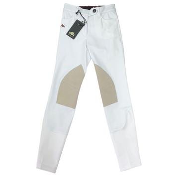 MaKeBe Audrey Alcantara Knee Patch Breeches in White/Tan Knee Patch
