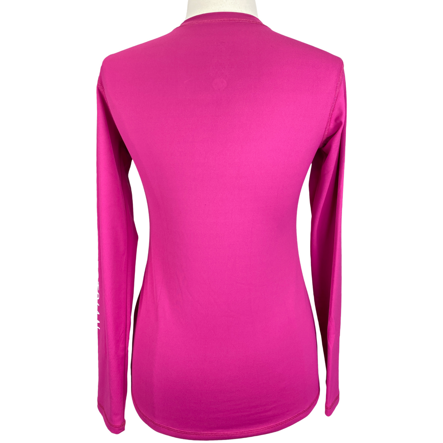 Back of Asmar Equestrian AE Logo Long Sleeve Shirt in Pink - Women's Medium