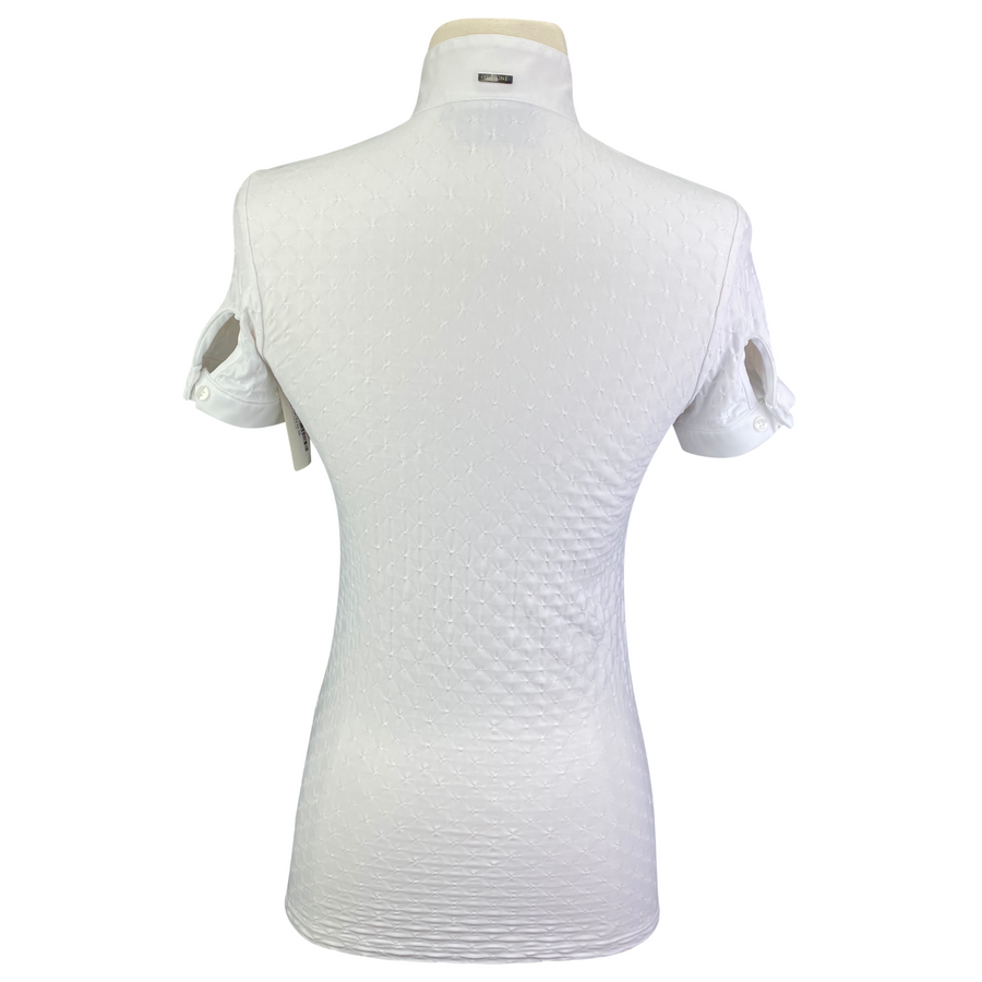 Back of Equiline Short Sleeve Show Shirt in White - Women's IT 38 (US XS)