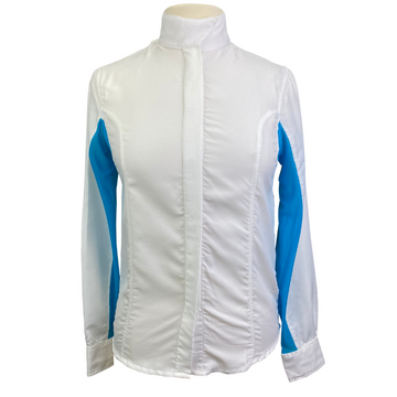 Huntfield's by Dover Saddlery Long Sleeve Show Shirt in White/Turquoise  - Women's XS