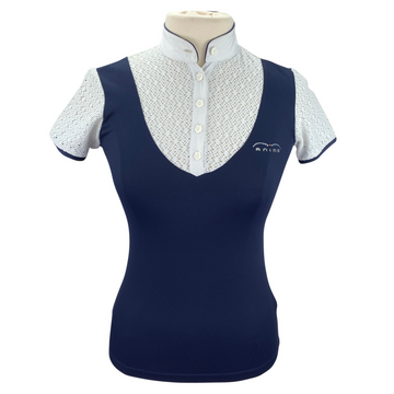 Animo Short Sleeve Competition Polo in Navy/White
