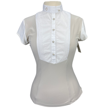 Cavalleria Toscana Technical Bib Show Shirt in White/Tan - Women's Large