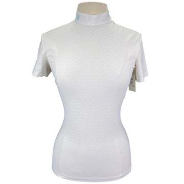 Cavalleria Toscana Chevron Perforated Competition Shirt in White - Women's Large