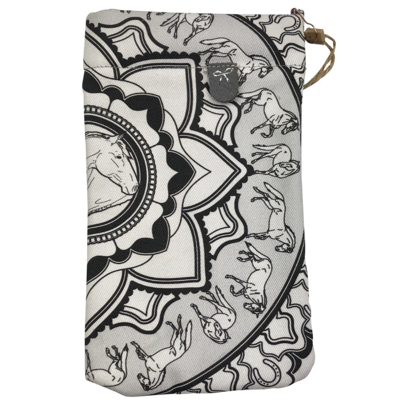 Spiced Equestrian Sunglasses Case in Black & White Mandala - One Size