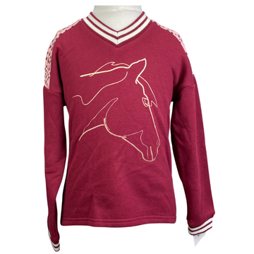Horseware V-Neck Sweatshirt in Burgundy
