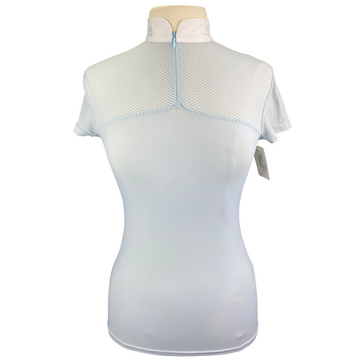 Cavalleria Toscana Perforated Short Sleeve Shirt in Light Blue - Women's Small